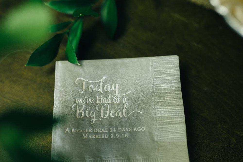 Custom wedding napkins at Toledo, Ohio wedding.