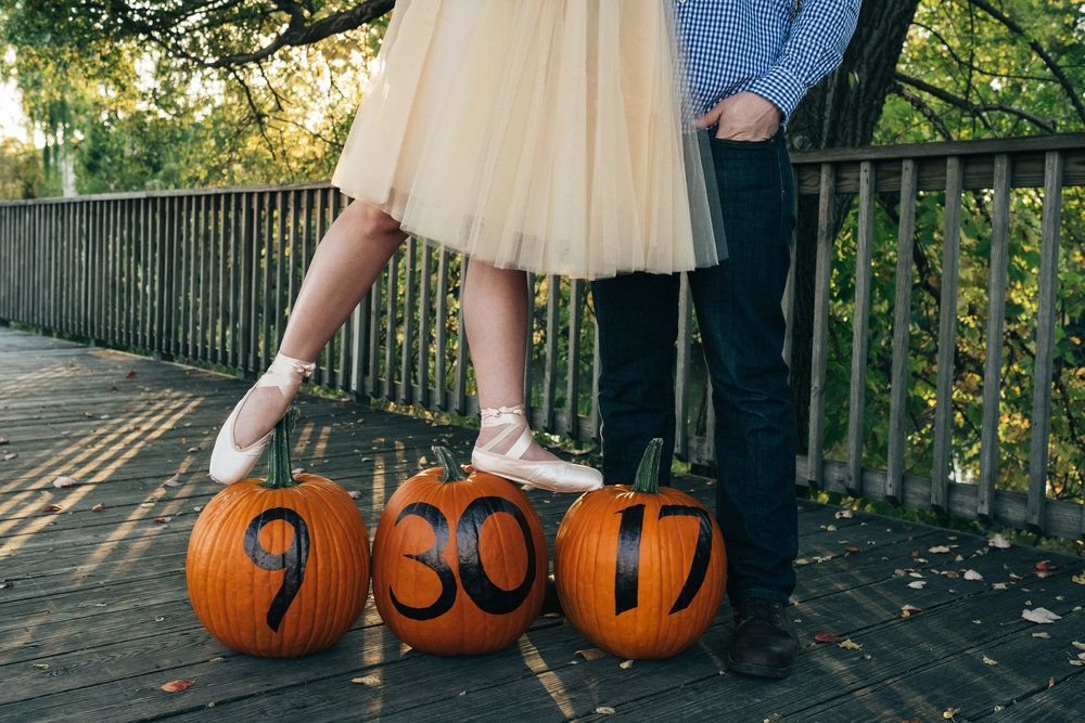 Pumpkins used to display the wedding date at Middlegrounds Metropark in downtown Toledo.