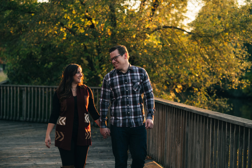 Middlegrounds Metropark engagement pictures with future bride and groom at sunset.