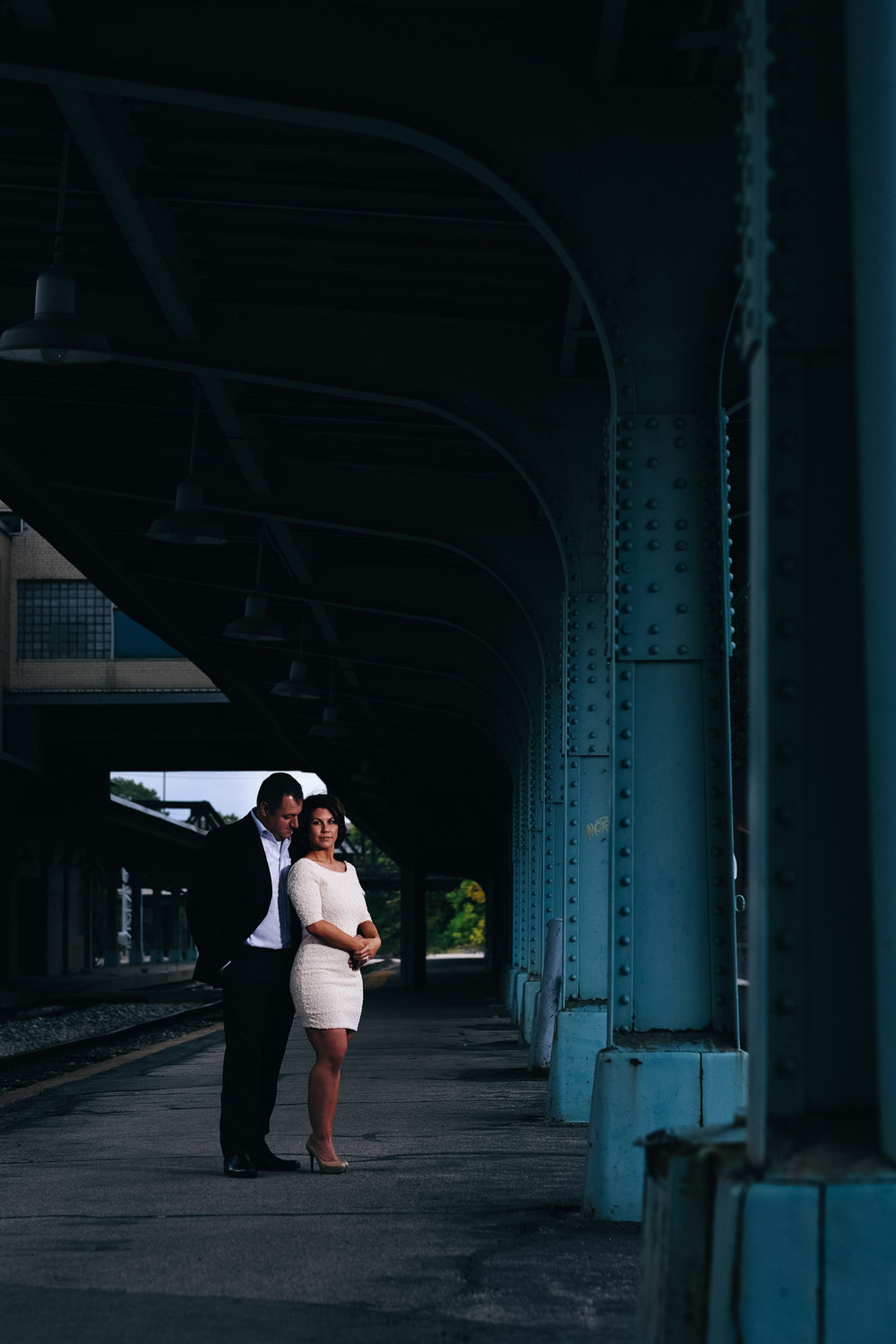 Toledo fall engagement photography at the Amtrak Station.