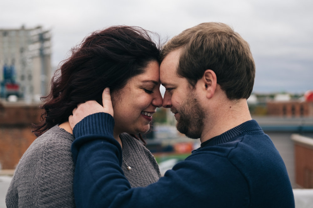 Downtown rooftop engagement session in Toledo.