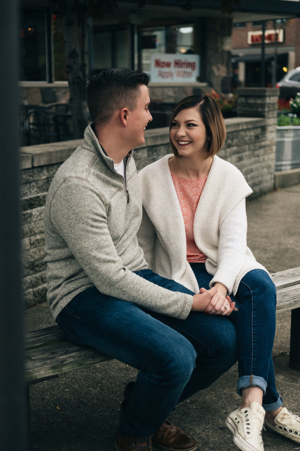 Stylish engagement session in downtown Royal Oak, Michigan.