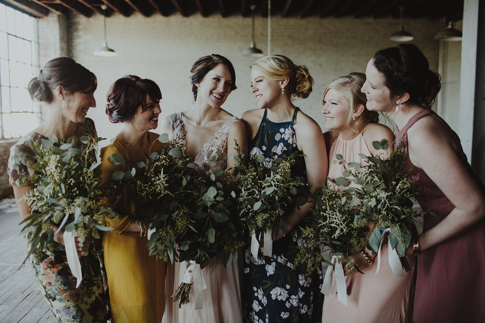 Unique urban warehouse wedding inspiration for bridesmaids.