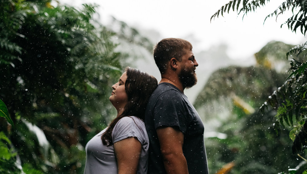 Rain during an engagement session in Kona, Hawaii.