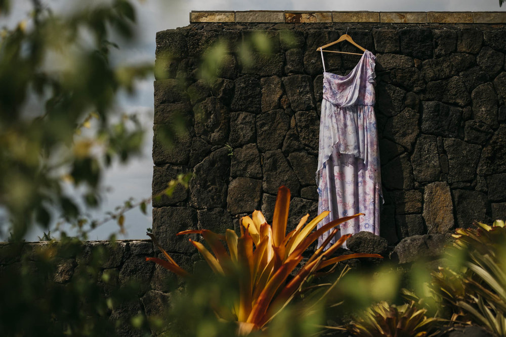 Wedding dress picture on The Big Island of Hawaii.