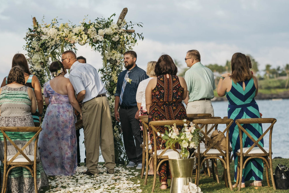 Outdoor Hawaiian wedding ceremony in Kailua-Kuna, Hawaii.