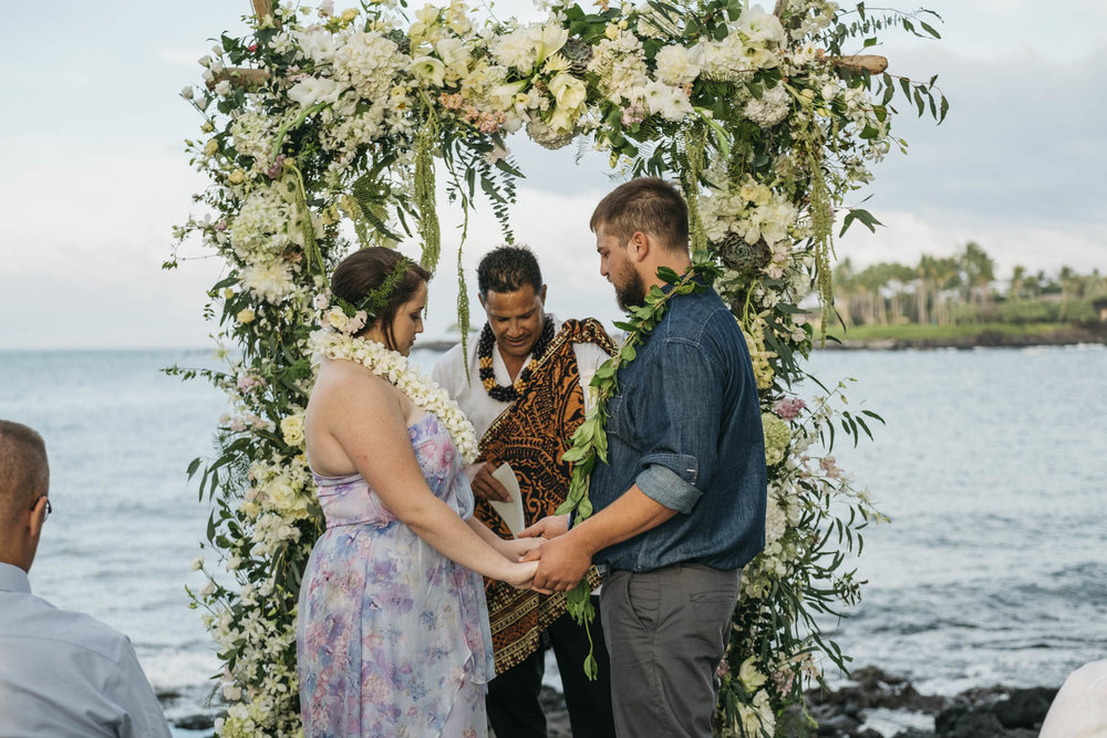 Wedding ceremony in Hawaii photographed by destination wedding photographers.