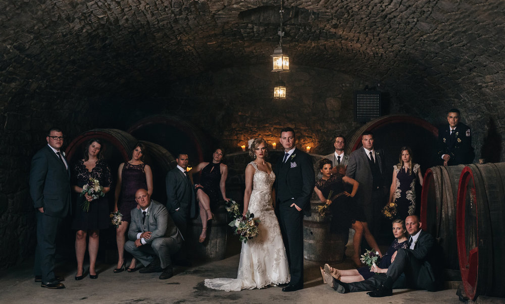 Victorian inspired wedding bridal party shot in Mon Amie Winery.