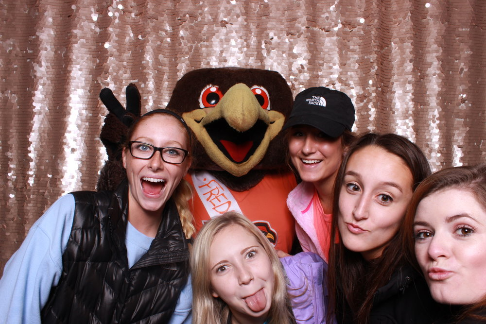 Swatch Photobooth at BGSU homecoming event with Freddy Falcon.