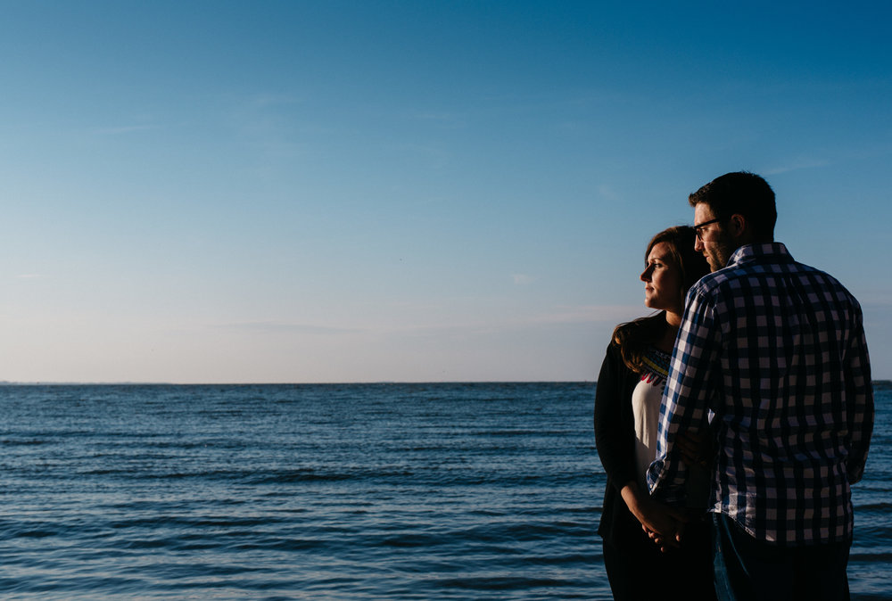 Lake Erie engagement session photography at sunset.