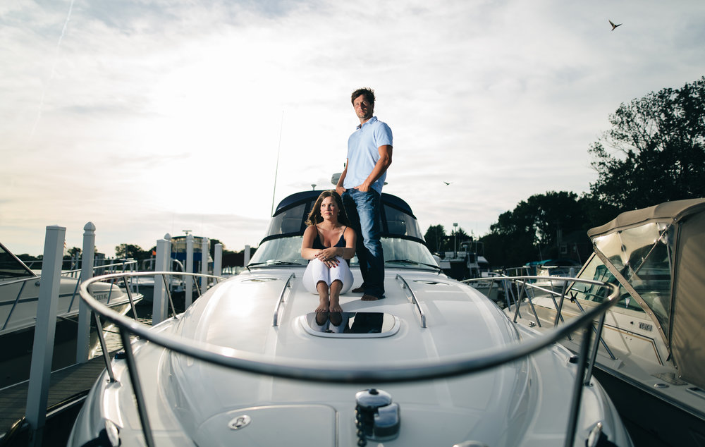 Engagement session photography on a boat on Lake Erie.