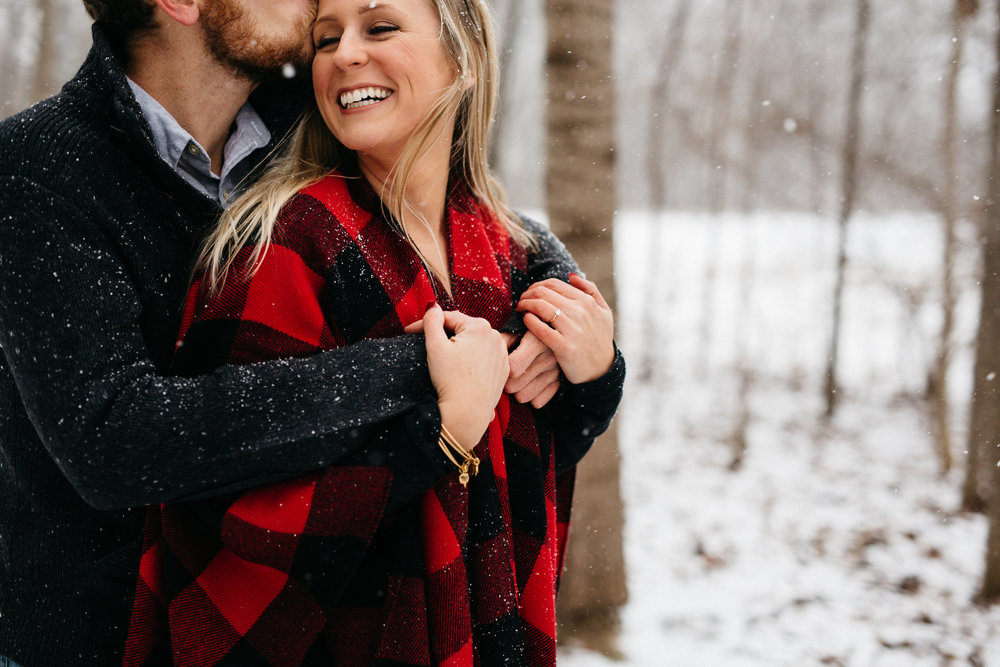Snowy winter engagement session in Toledo, Ohio.
