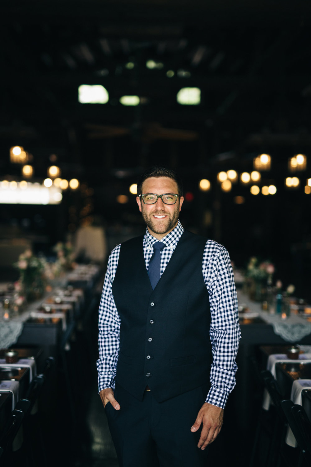 Groom in navy checkered suit in Canton, Ohio Wedding.