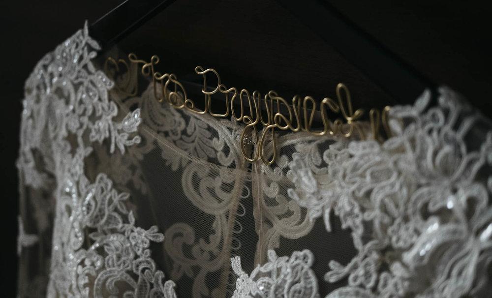 Custom wedding dress hanger.