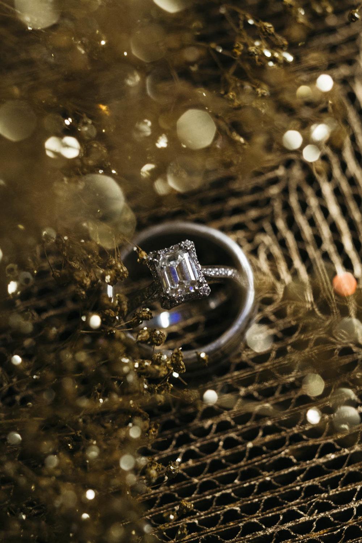 Emerald cut diamond wedding ring.