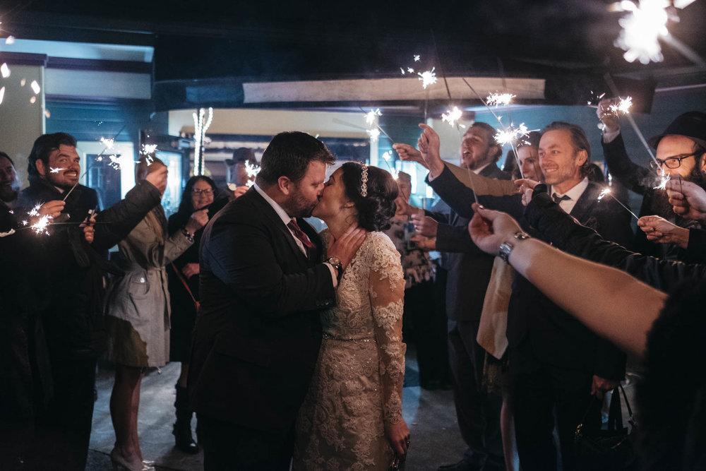 Sparkler exit inspiration for wedding reception.