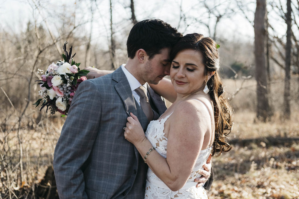 Toledo wedding photographers capture intimate bride and groom moment.