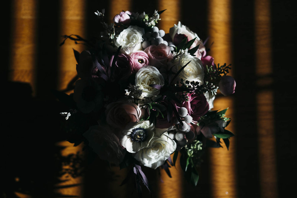 Bouquet of flowers at home before wedding in Toledo, Ohio.