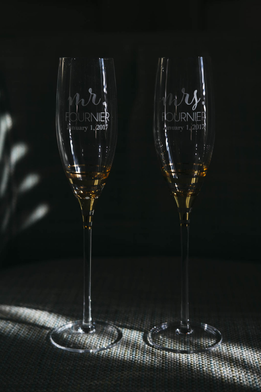 Wedding glass details in Toledo, Ohio.