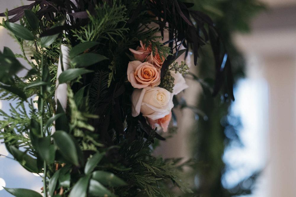 Floral arrangement for at-home DIY wedding.