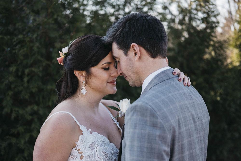 Sweet, intimate bride and groom portrait in Toledo, Ohio.