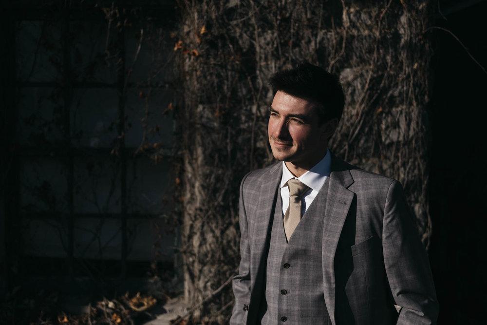 Portrait of the groom in Toledo, Ohio.