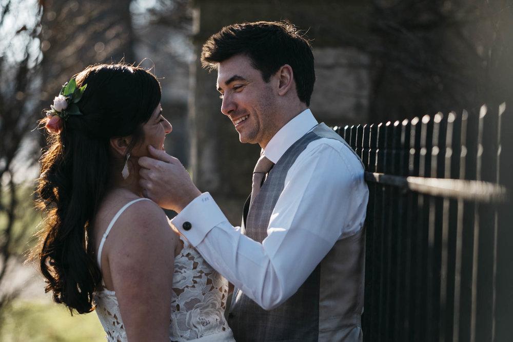 Happy bride and groom before wedding ceremony.