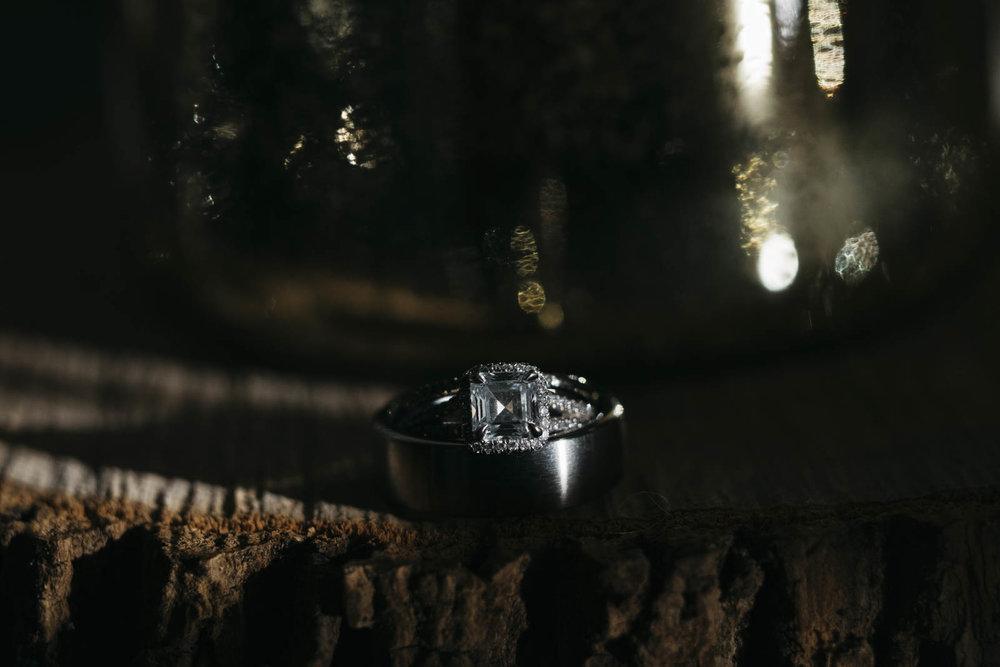 Wedding photography of diamond wedding bands.