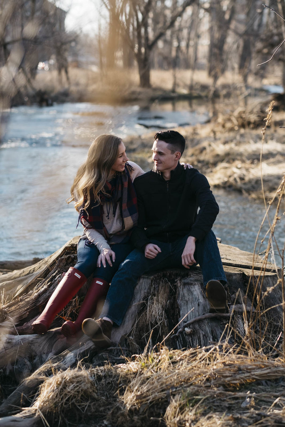 Engagement pictures in the woods in northwest Ohio.