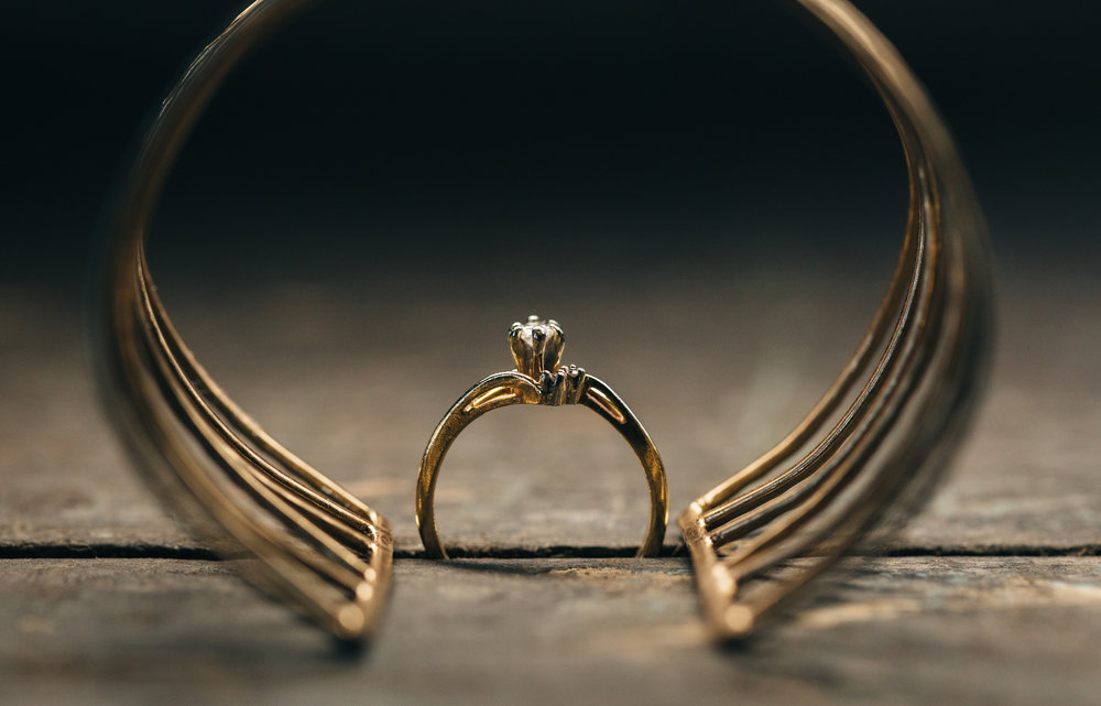 Wedding photography of bride's ring and bracelet.