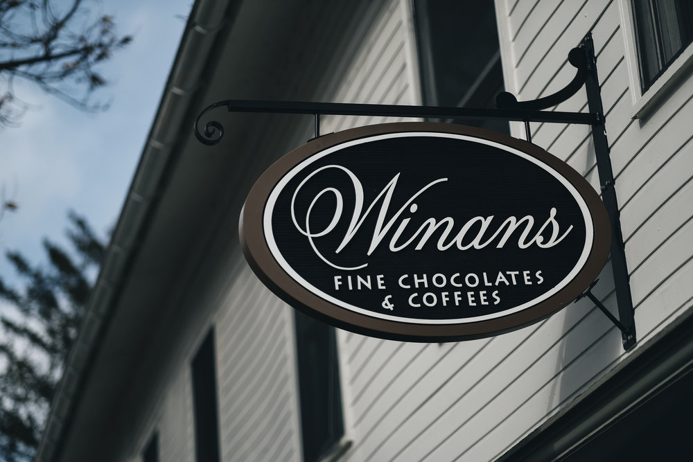 Winans Fine Chocolates & Coffees sign in Columbus, Ohio