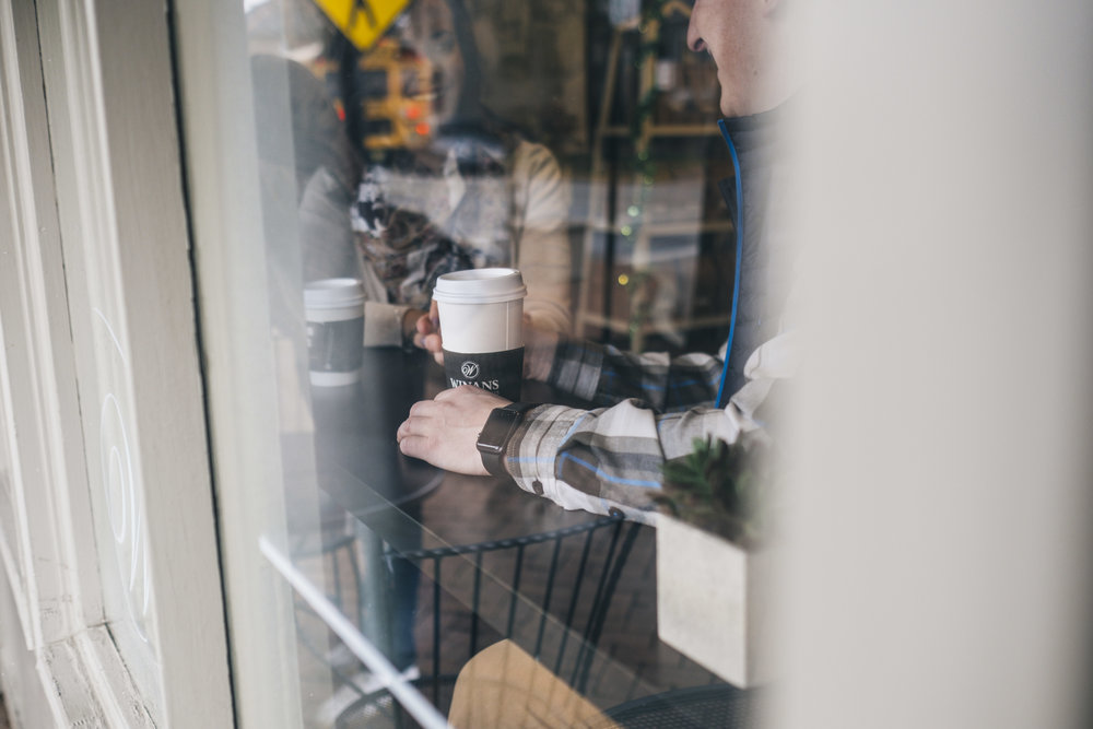 Getting coffee during an engagement session in Dublin, Ohio.