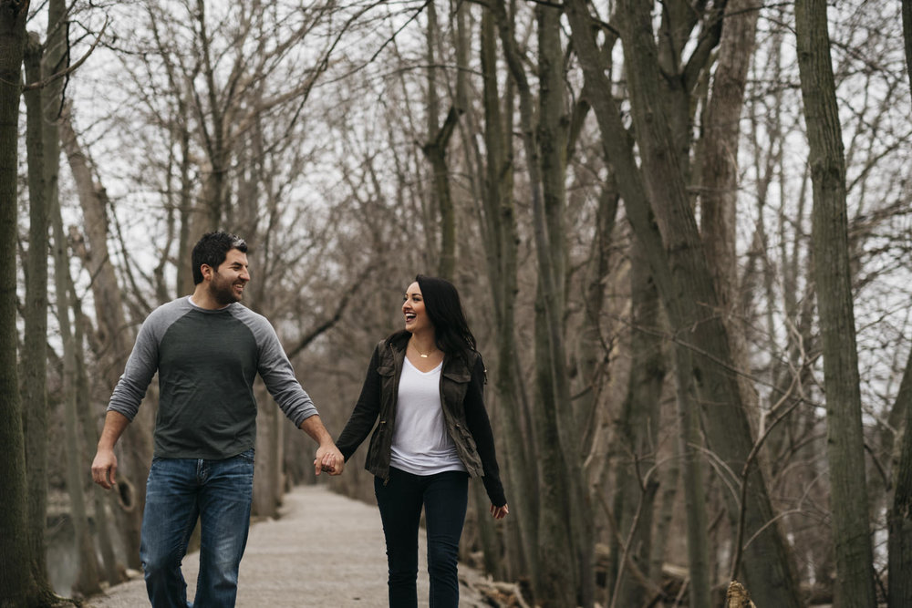 Engagement session by Maumee River in Grand Rapids, Ohio.