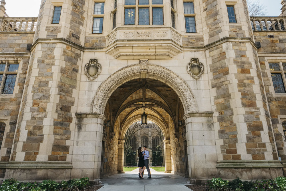Engagement session at the University of Michigan school of Law.
