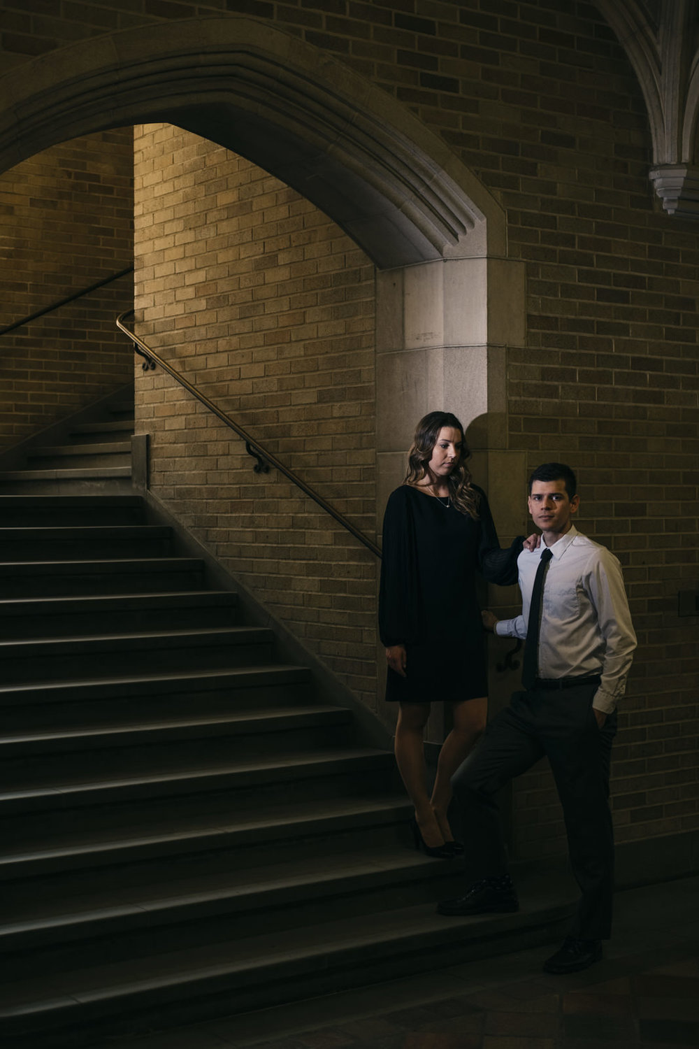 High-end engagement session at the School of Law at University of Michigan.