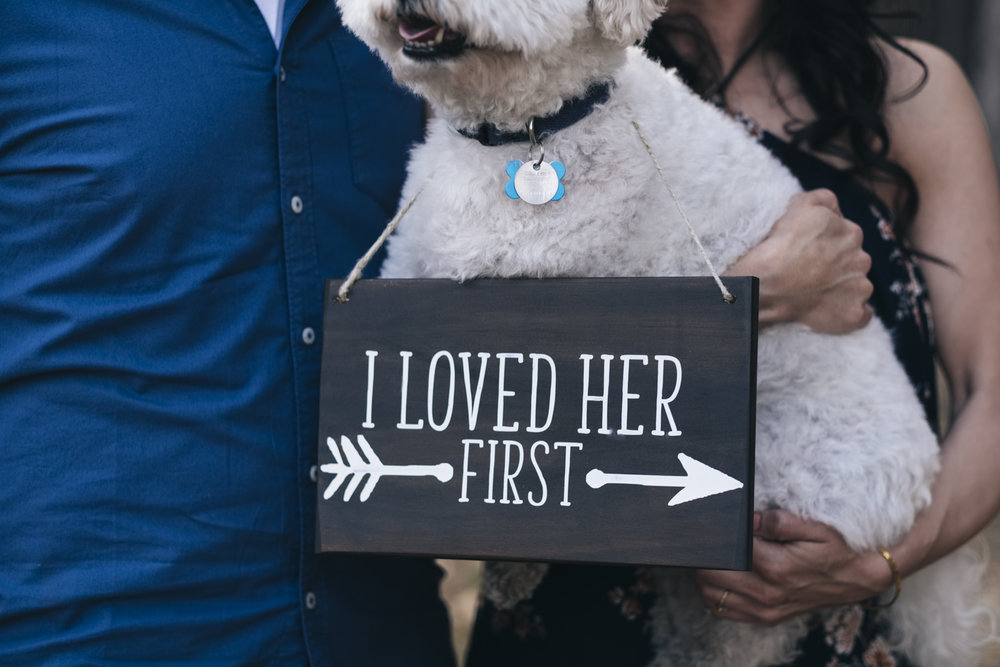 I Loved Her First sign for engagement session including dog.