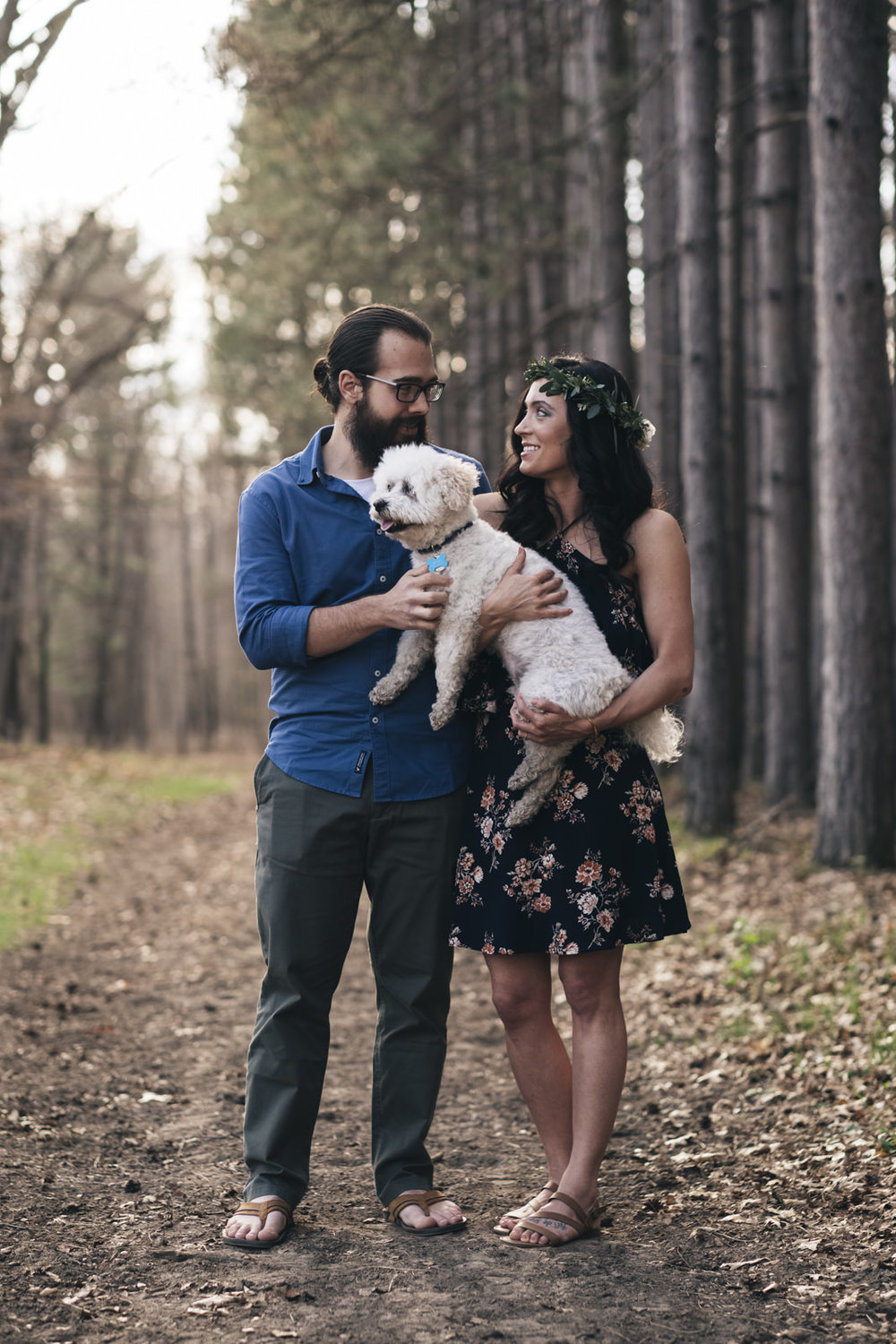 Cute engagement photo with dog in Ohio.