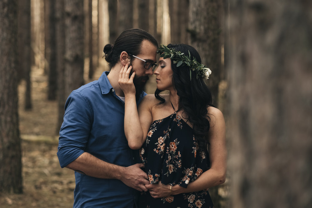 Intimate engagement picture of couple at Oak Openings.
