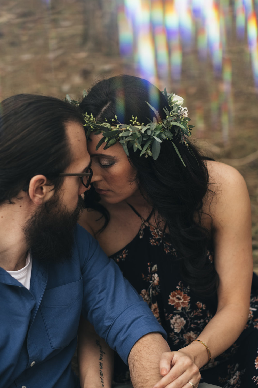 Bartz Viviano flower crown on bride-to-be during engagement session in Toledo, Ohio.