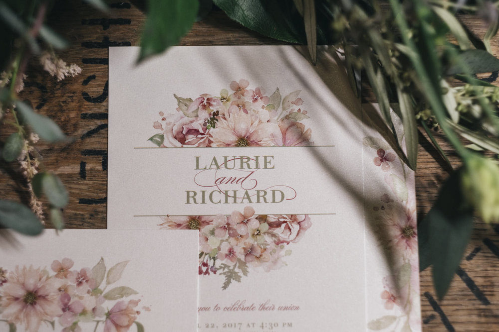 Dusty rose wedding invitations from Paper Diva.