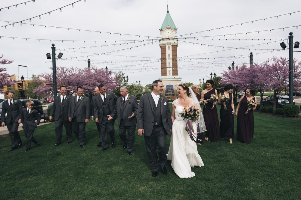 Fun bridal party pictures at Levis Commons
