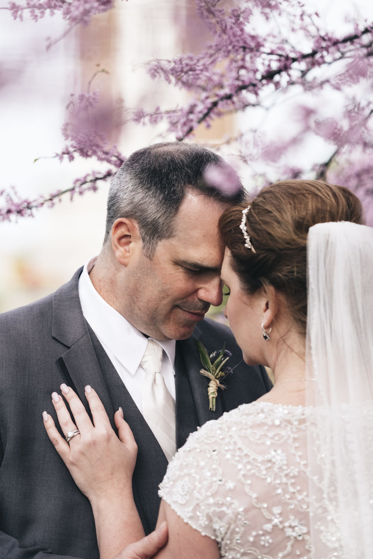 Wedding photography of bride and groom at Hilton Garden Inn.
