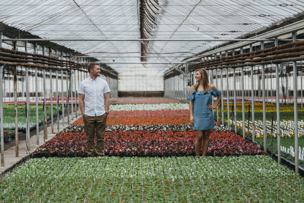 Engagement session photography at Hecklinger Greenhouse in Toledo, Ohio.