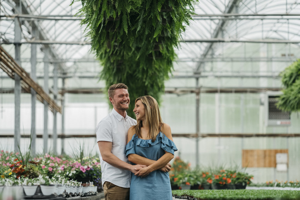 Sweet engagement session photography at greenhouse.