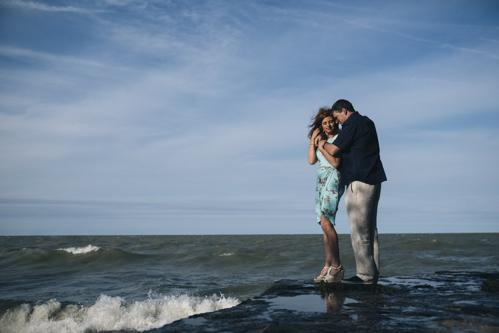 Engagement session by Lake Erie shores.