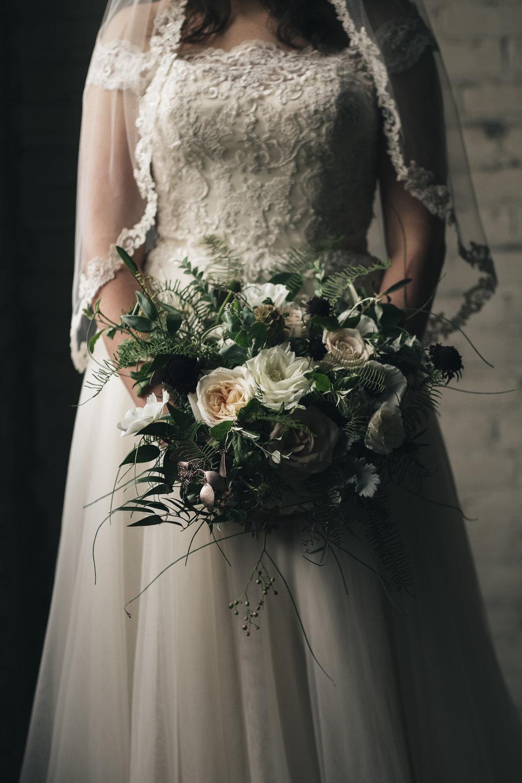 Unique greenery bridal bouquet.