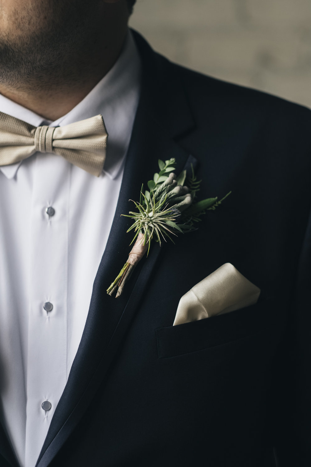 Wedding boutonniere with air plant.