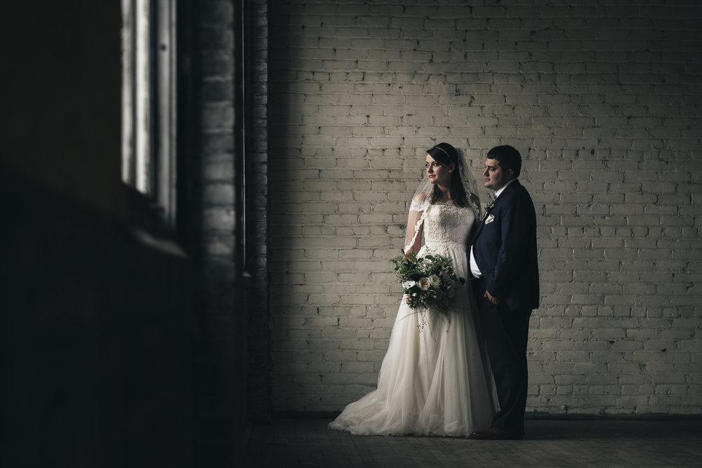 Bride and groom wedding portrait in downtown Toledo.