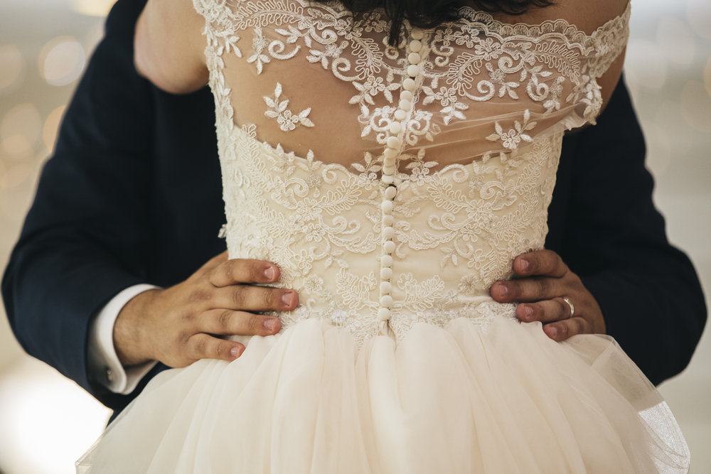 Lace wedding dress from Belle Amour Bridal.