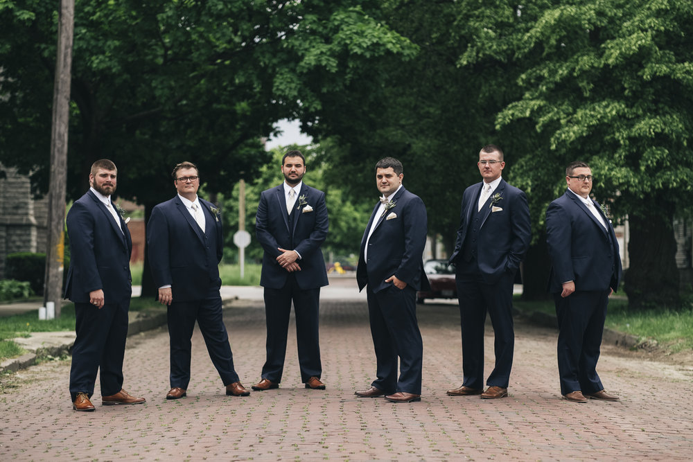 Groomsmen portrait at St. Mark's Lutheran Church in Toledo.